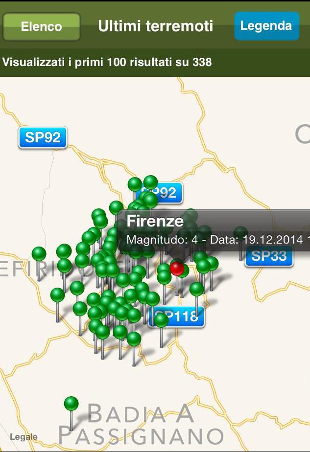 Sciame sismico in corso a Firenze.