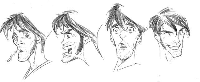 Le varie espressioni di Kenzo Tanaka.