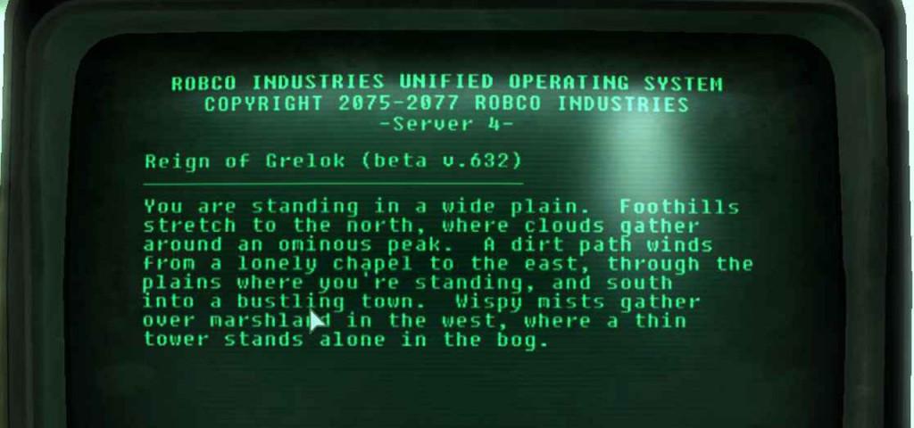 Esempio di avventura testuale su uno schermo dell'epoca:  forse non ci crederete, ma quelli verdi sono fosfori!