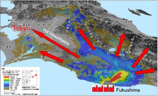 Tra Tokyo e Fukushima non vi sono montagne abbastanza alte per bloccare le nubi radioattive, disperse dai venti, dalle tempeste e dai tifoni.