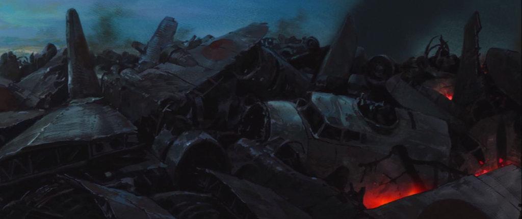Jirou cammina tra i resti degli aerei distrutti per la guerra, quasi personificati, e morti.