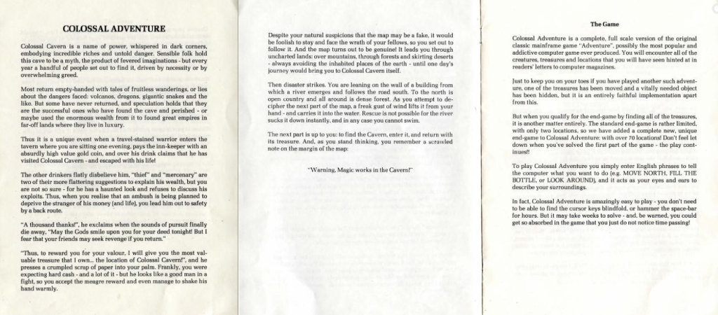 """Colossal Adventure"", il manuale."